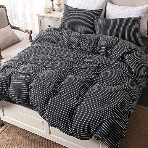 Pure Era Striped Cotton Jersey Knit Duvet Cover Set Ultra Soft Comfy