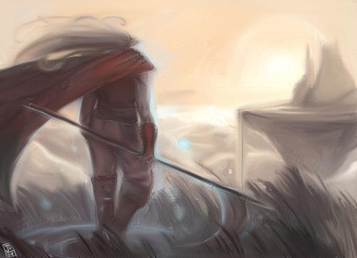 Teste com pincel de mistura Pintura do pesonagem Magus do jogo Chrono Trigger