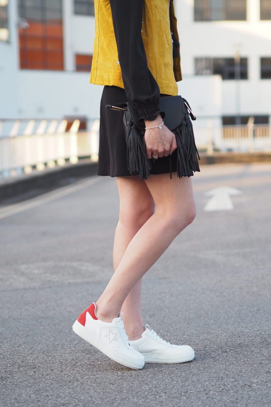 6c7d30938ca White trainers and bright colours street style inspiration on UK Style  Blog. Daniel White Trainers