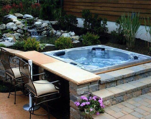 Cool Hot Tube I Love The Bricks Cool Pools Backyard Patio