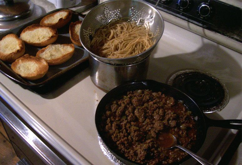 Spaghetti, meat sauce dinner with grass bed beef and fresh herbs