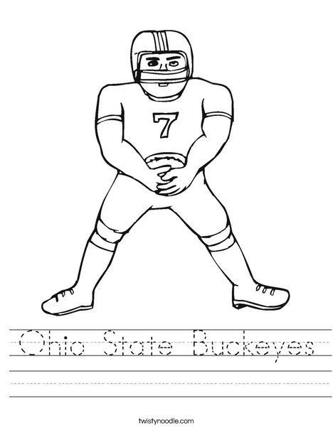 Ohio State Buckeyes Worksheet From Twistynoodle Com Football Coloring Pages Football Players Ohio State