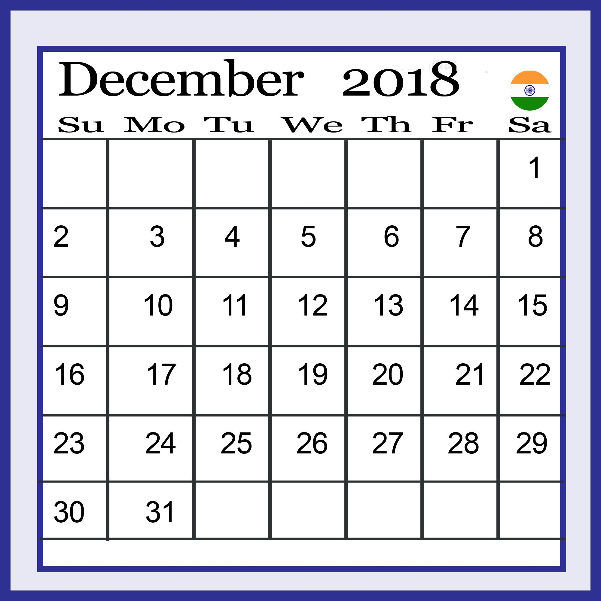 December 2018 Calendar India With India Holidays Calendar