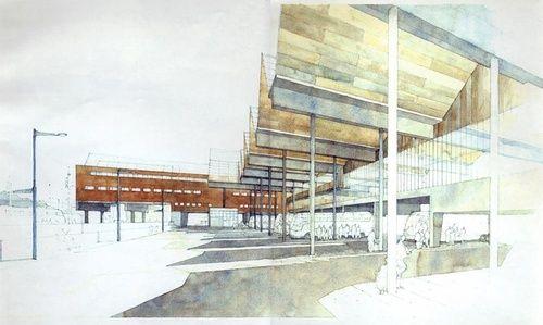 Sketch of Stationsplein in Leuven, Belgium by Manuel de Solà-Morales