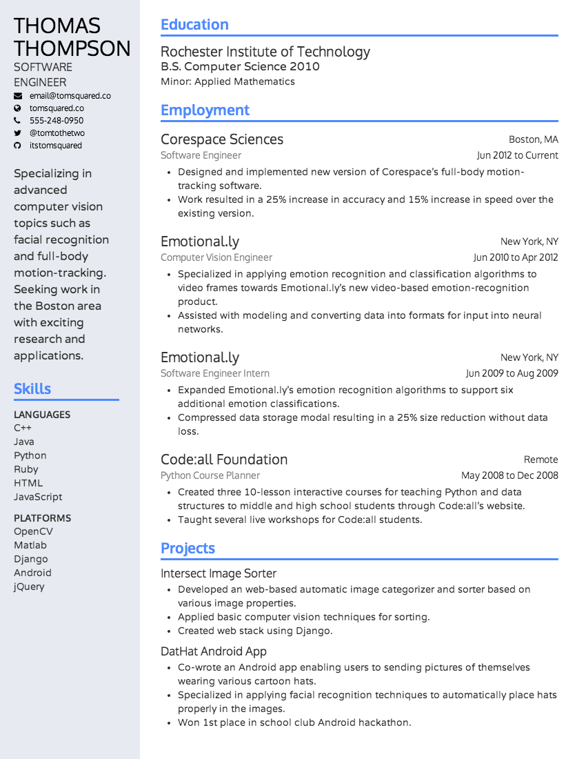 The Alamada resume design theme (March 2014). resume