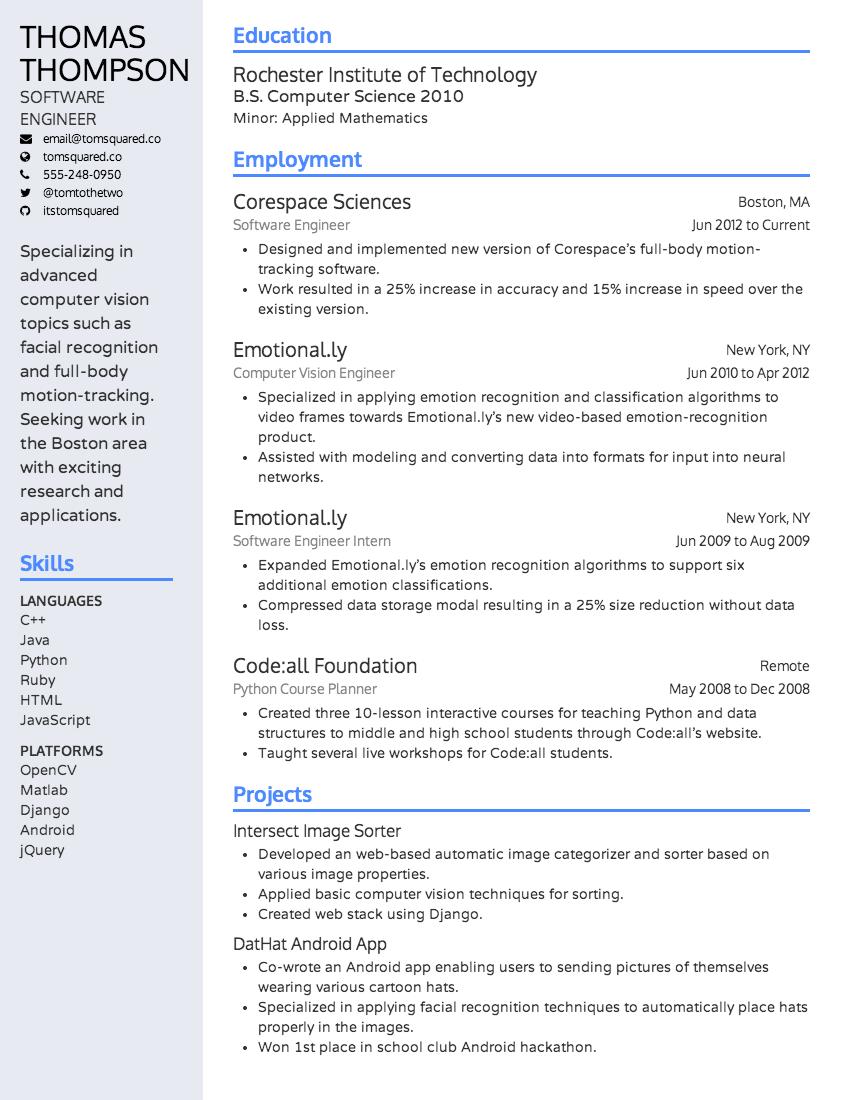 The Alamada resume design theme (March 2014). resume