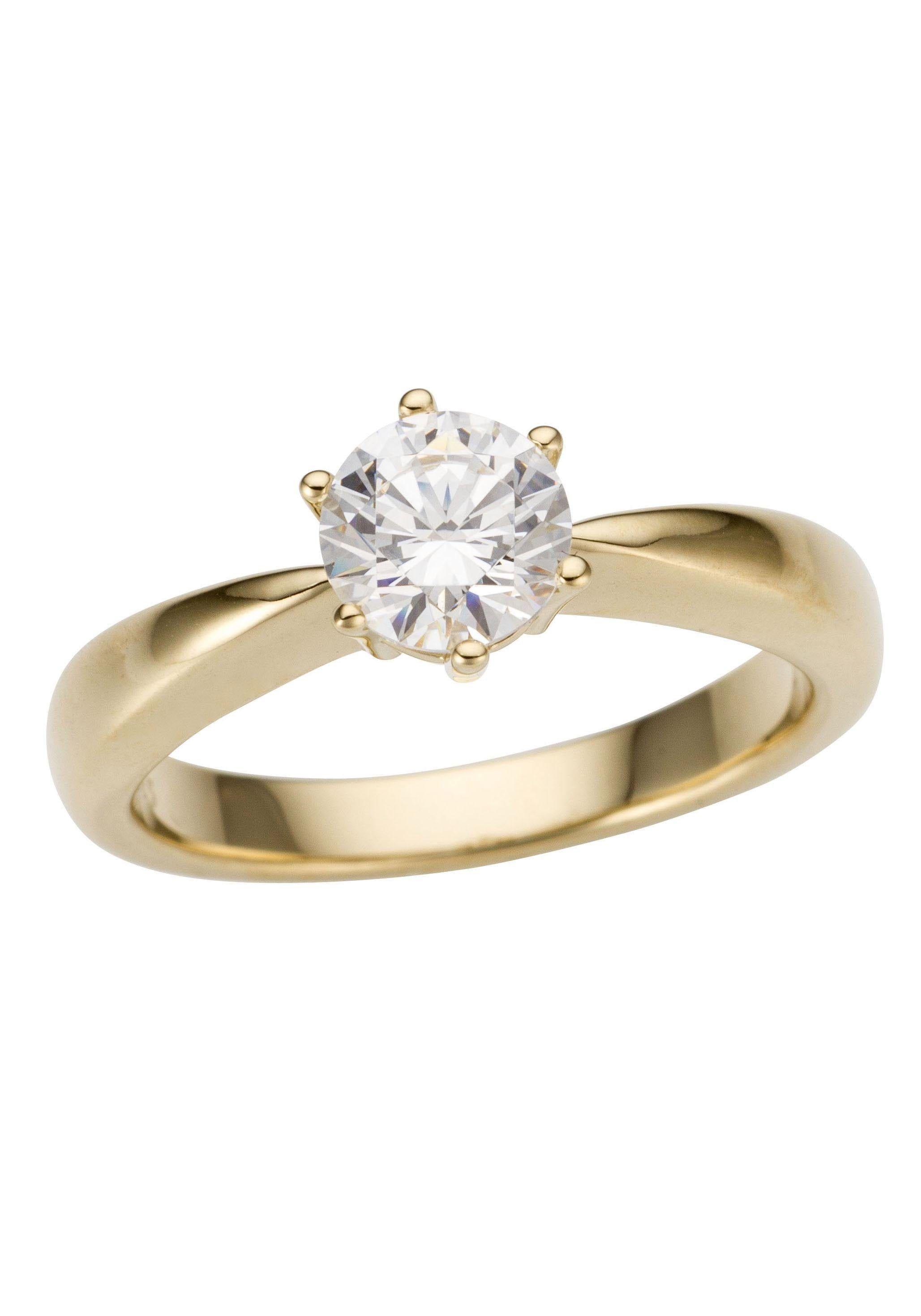 Was für eine Wucht! Dieser wunderschöne Damenring lässt Frauenherzen höherschlagen. Der funkelnde Brillant strahlt mit Ihrem Lächeln um die Wette. Das Schmuckstück überzeugt mit edlem und zugleich pompösen Stil und ist weiterhin ein Symbol für das schönste Versprechen der Welt: dieser Ring kann als klassischer Verlobungsring später optimal mit einem Trauring kombiniert werden.