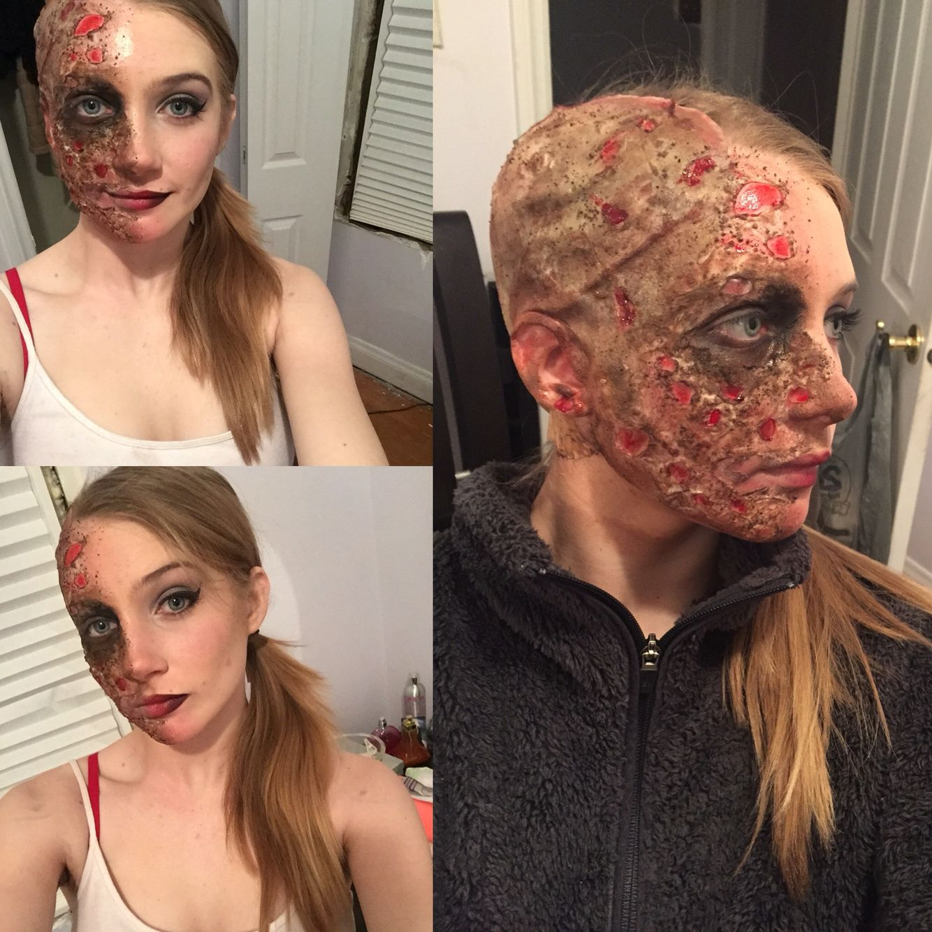 Burn Look Two Face I Did Using Coffee Grounds Liquid Latex And Cotton Burn Makeup Twoface Batman Harveydent Sfx Latex Halloween Costume Gory