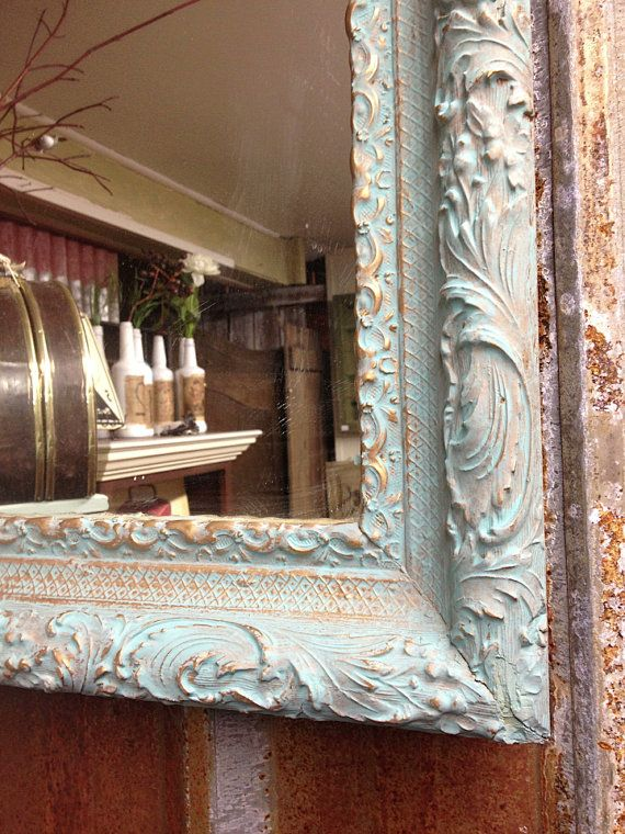 LARGE WALL MIRROR, Shabby Chic, Annie Sloan Blue Chalk Paint ...