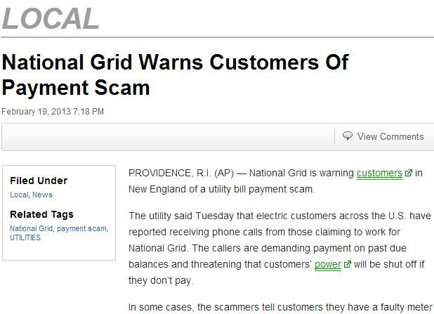 National Grid Warns Customers Of Payment Scam | Scams