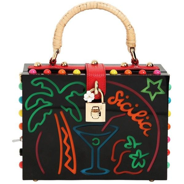 Dolce & Gabbana Women Dolce Box Sicilia Light Up Plexi Bag (£4,890) ❤ liked on Polyvore featuring bags, handbags, shoulder bags, black, colorful handbags, lucite purse, tri color handbags, locking purse and colorful purses