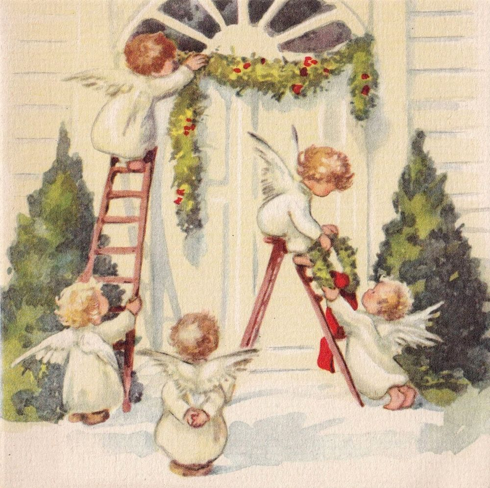 Angels decorating front door; vintage Christmas card ...