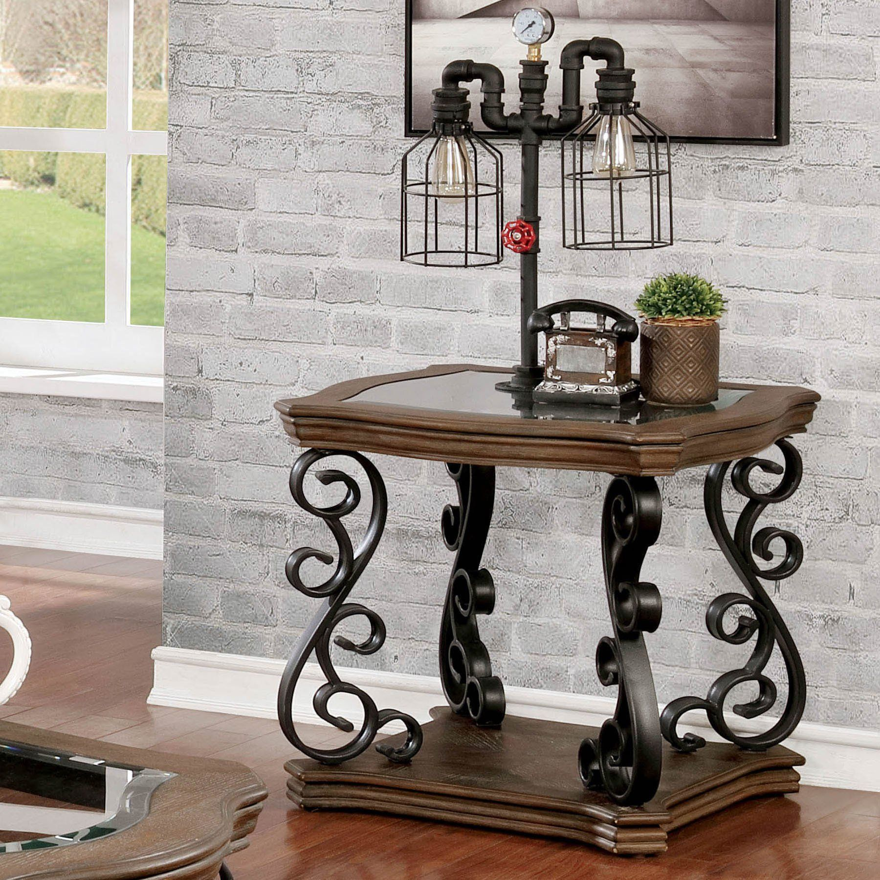 Incredible Mariano Traditional Rustic Natural Tone Glass Top End Table Machost Co Dining Chair Design Ideas Machostcouk