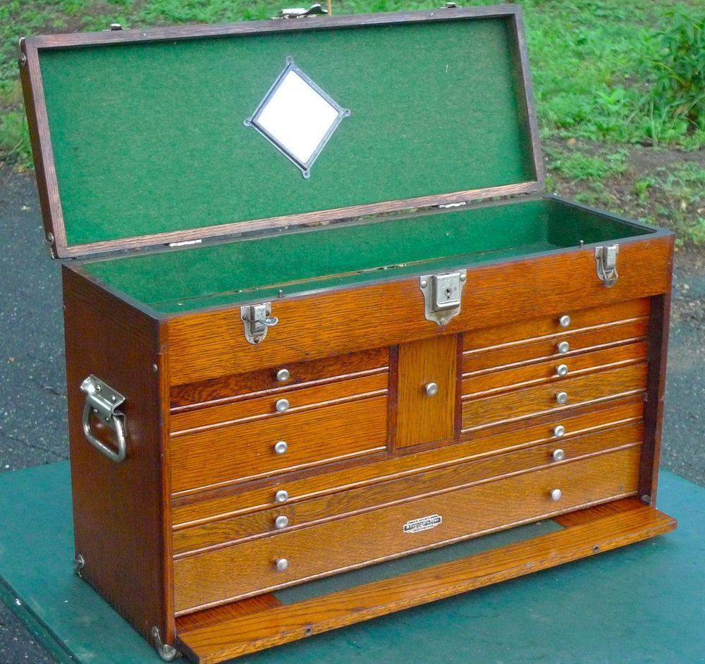 ANTIQUE VINTAGE GERSTNER 052 OAK TOOL BOX CHEST CABINET Machinist Tools