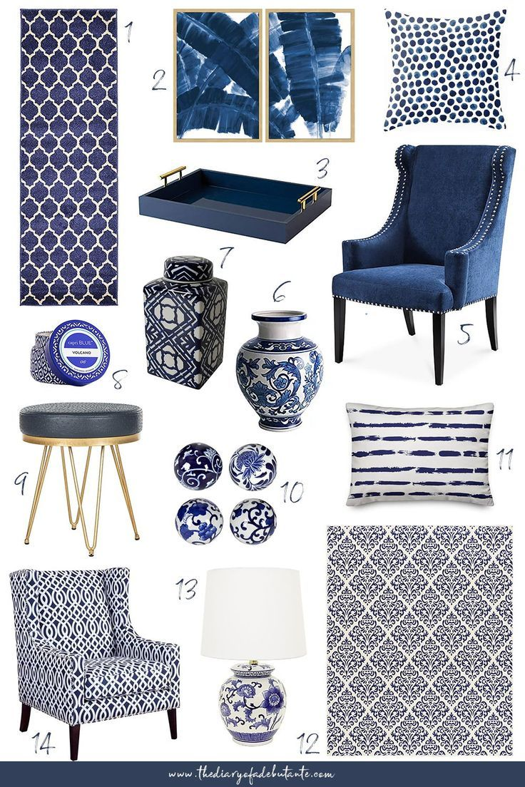 Need affordable home decor ideas for spring? From blue and white rugs to blue porcelain vases and ginger jars, Stephanie from the affordable fashion and southern lifestyle blog Diary of a Debutante is sharing over a dozen budget-friendly blue and white home accessories, plus a handful of blue and white decorating ideas, in today's post. Click through for all 14 modern home decor accents! #homedecor #homedecorideas #modernhomedecor #livingroom #blueandwhite #navyblue #gingerjar