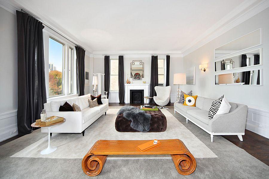 Dark Drapes Anchor The Light, Breezy Living Room [Design: Interior  Marketing Group]