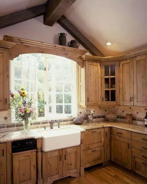 Oak cupboards and farm sink Kitchens Pinterest Oak cupboard