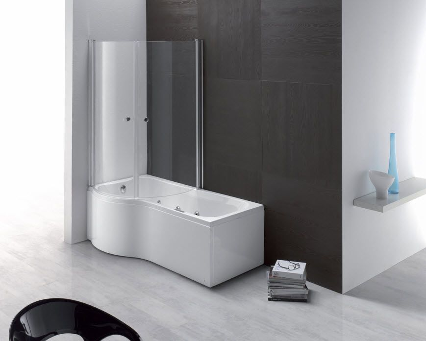 Rectangular Bath Tub Shower Combination Duo Aqualife Srl