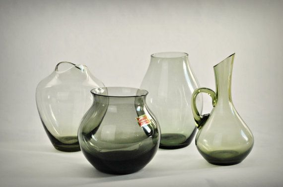 Vintage Instant Collection Of 4 Smoke Glass Vases Wmf Or