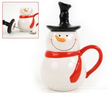 SNOWMAN COCOA MUG & SPOON SET