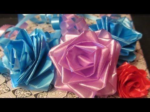 Tutorial rosas de cinta lazos mo os para regalo - Cinta para regalo ...