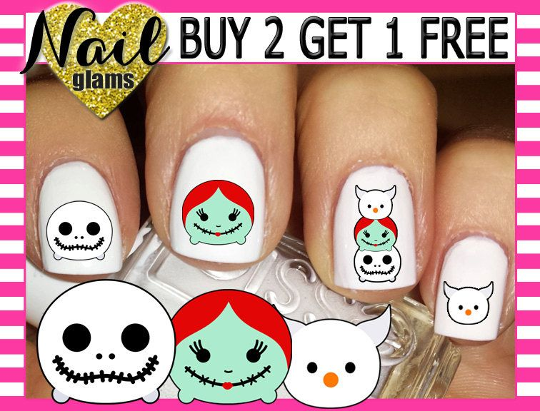 60 Nail Decals Per Set - Nightmare Before Christmas - Jack & Sally ...