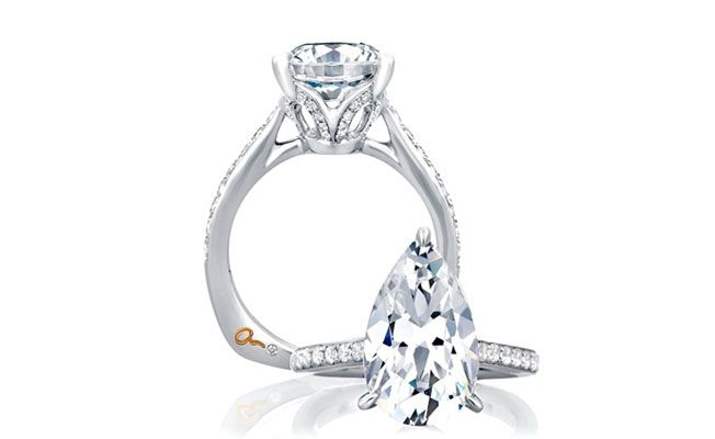 pear shaped engagement ring - channel set side diamonds and flat shank on bottom