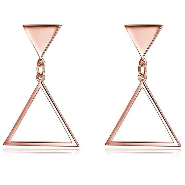 Rose Gold Metal Triangle Geometric Earrings 3 46 Liked On Polyvore Featuring Jewelry Triangular Earring
