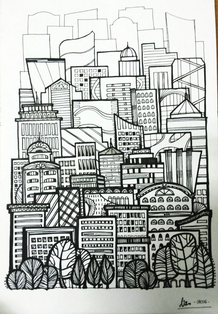 Buildings In The City With Images Doodle Art Zentangle Art Art