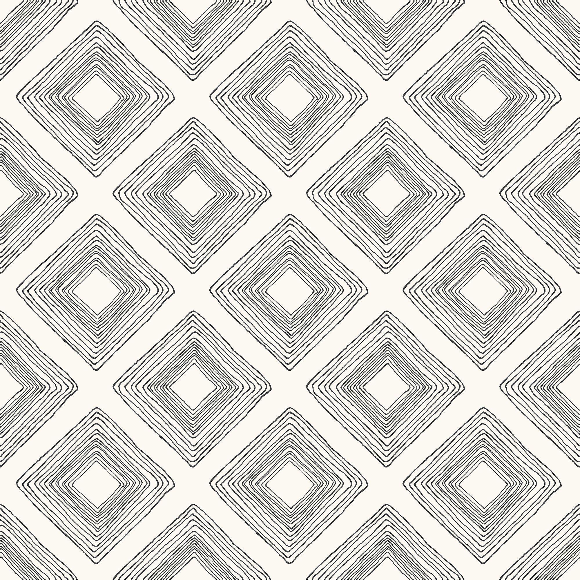 Magnolia Home Diamond Sketch Wallpaper Black & White