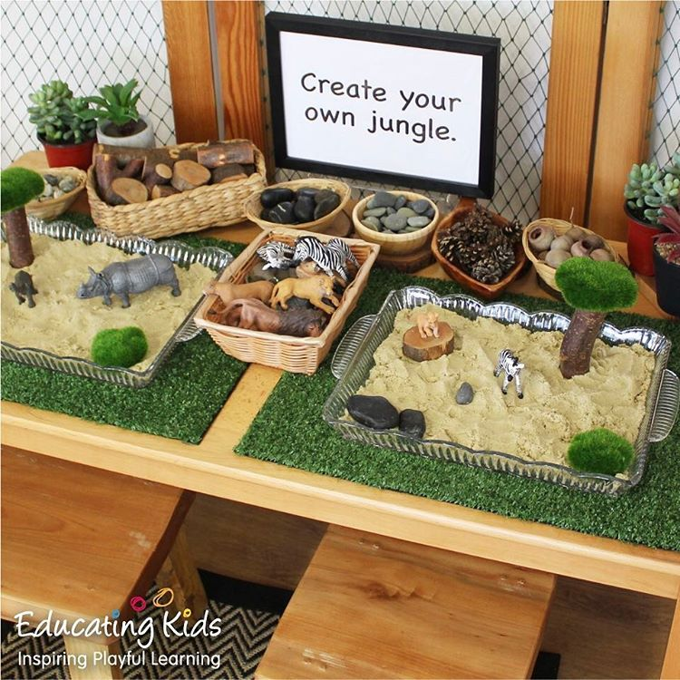148 vind-ik-leuks, 16 reacties - Educating Kids (@educating_kids) op Instagram: 'Create your very own jungle world using a selection of loose parts and a sand tray. #jungle #wild…'