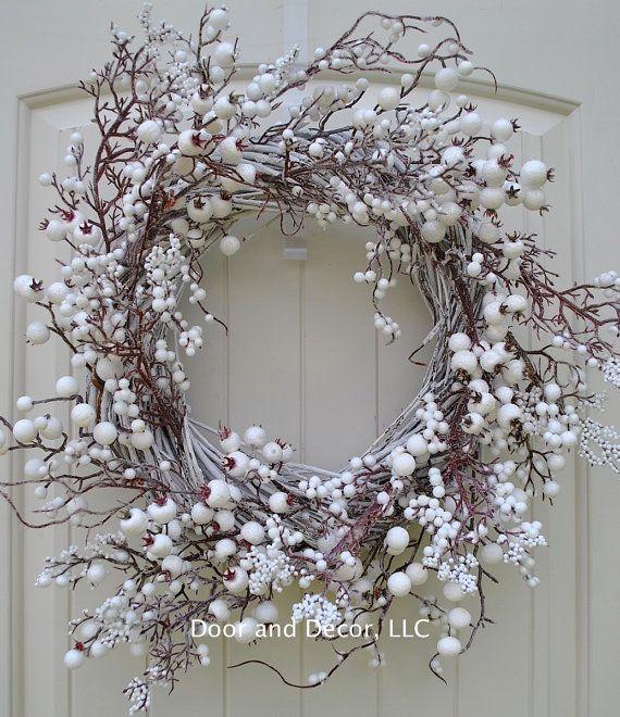 Winter wreath~Farmhouse Decor~White Berry Wreath~Snow Berry Wreath~Wedding Decor