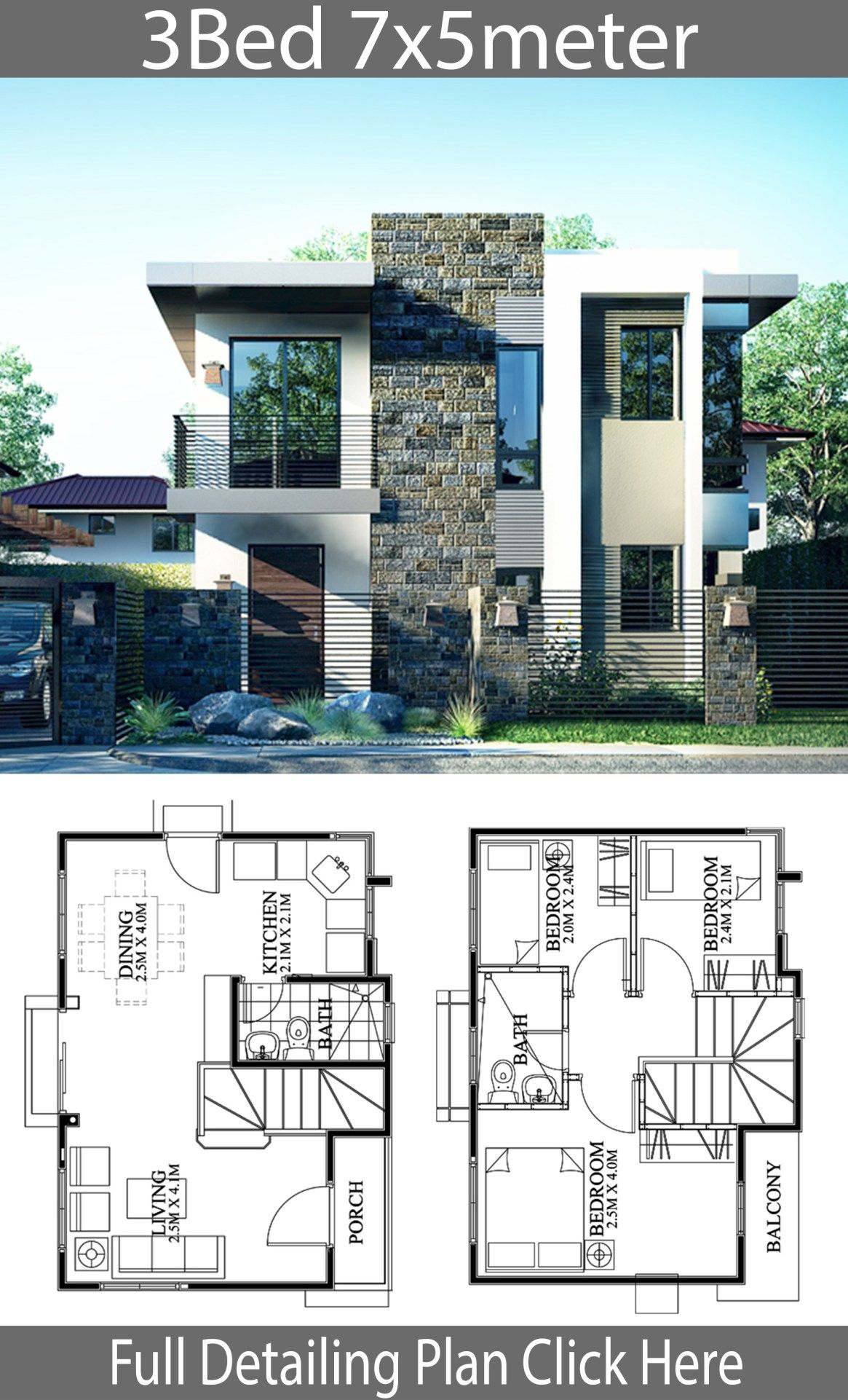 Small Home Design Plan 7x5m With 3 Bedrooms Home Design With Plansearch 2 Storey House Design Small House Design House Layout Plans