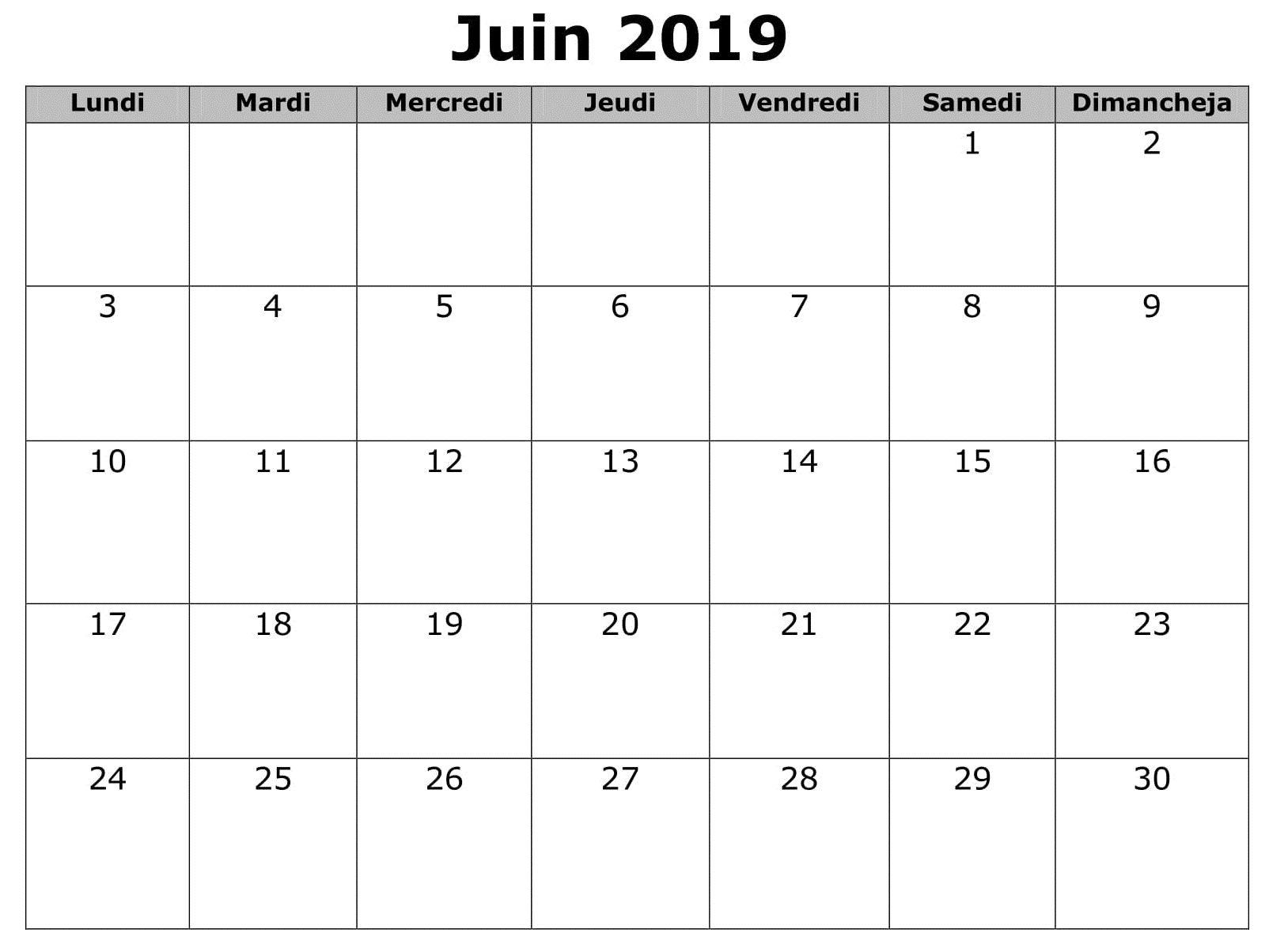 Template Calendrier 2019.Juin Calendrier 2019 Word 2019 Calendar Calendar June