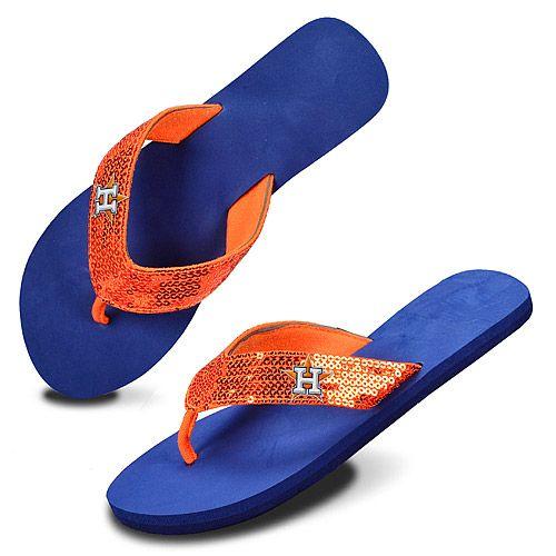 6d2778e3befc02 Houston Astros Team Color Sequin Flip Flops - MLB.com Shop