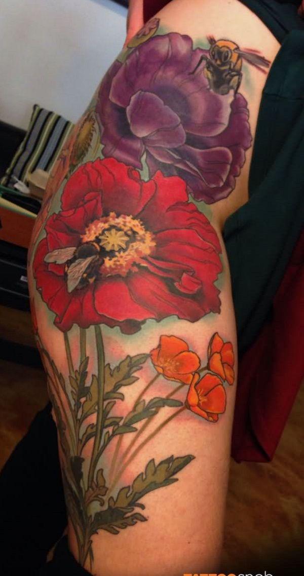 70 Poppy Flower Tattoo...
