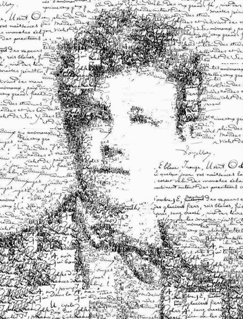 Manuscript self portrait of Arthur Rimbaud (1854-1891) by Sergio Albiac - Portrait of the french poet using one of his manuscript poems. Generative calligraphic colage. (via bebba)