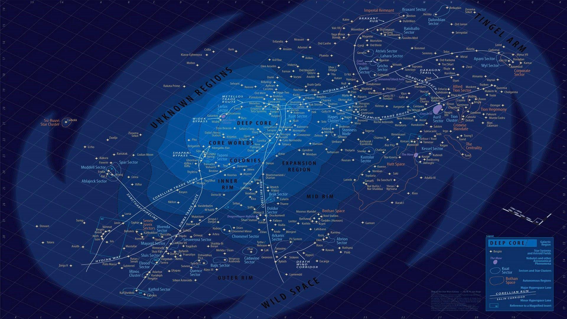 Star Wars Galaxies Wallpaper: Star Wars Galaxy Map