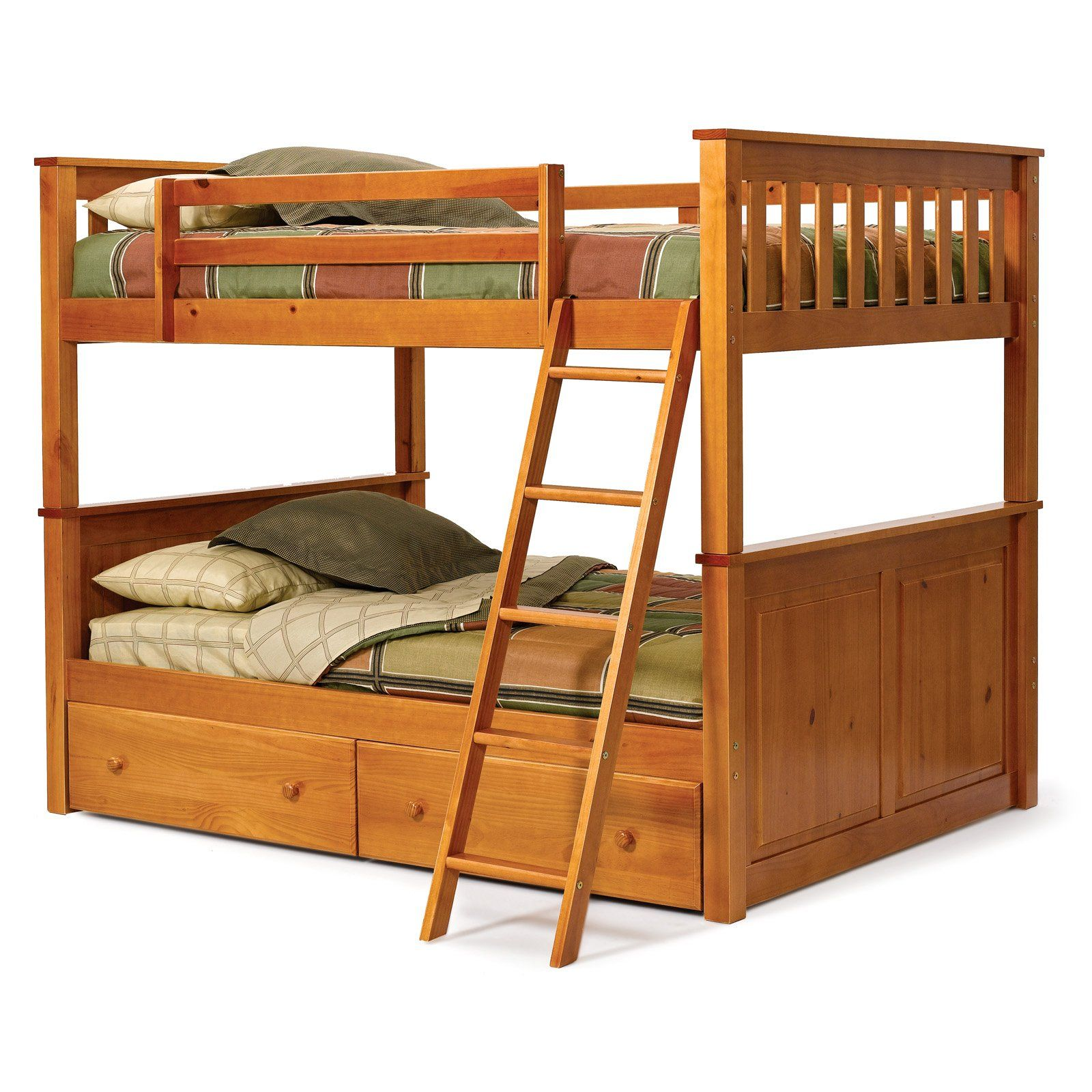 Double loft bed ideas  Have to have it Pine Ridge Honey Pine Full over Full Bunk Bed