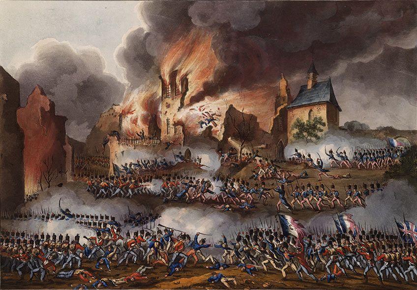 Fighting inside Hougoumont Château Battle of Waterloo on