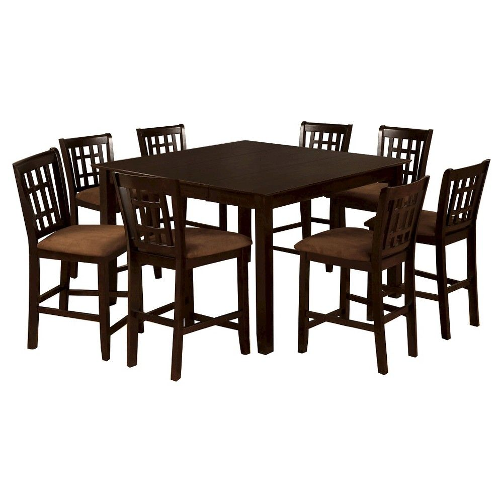 9 Piece Simple Counter Dining Table Set Wood/Espresso   Furniture Of America