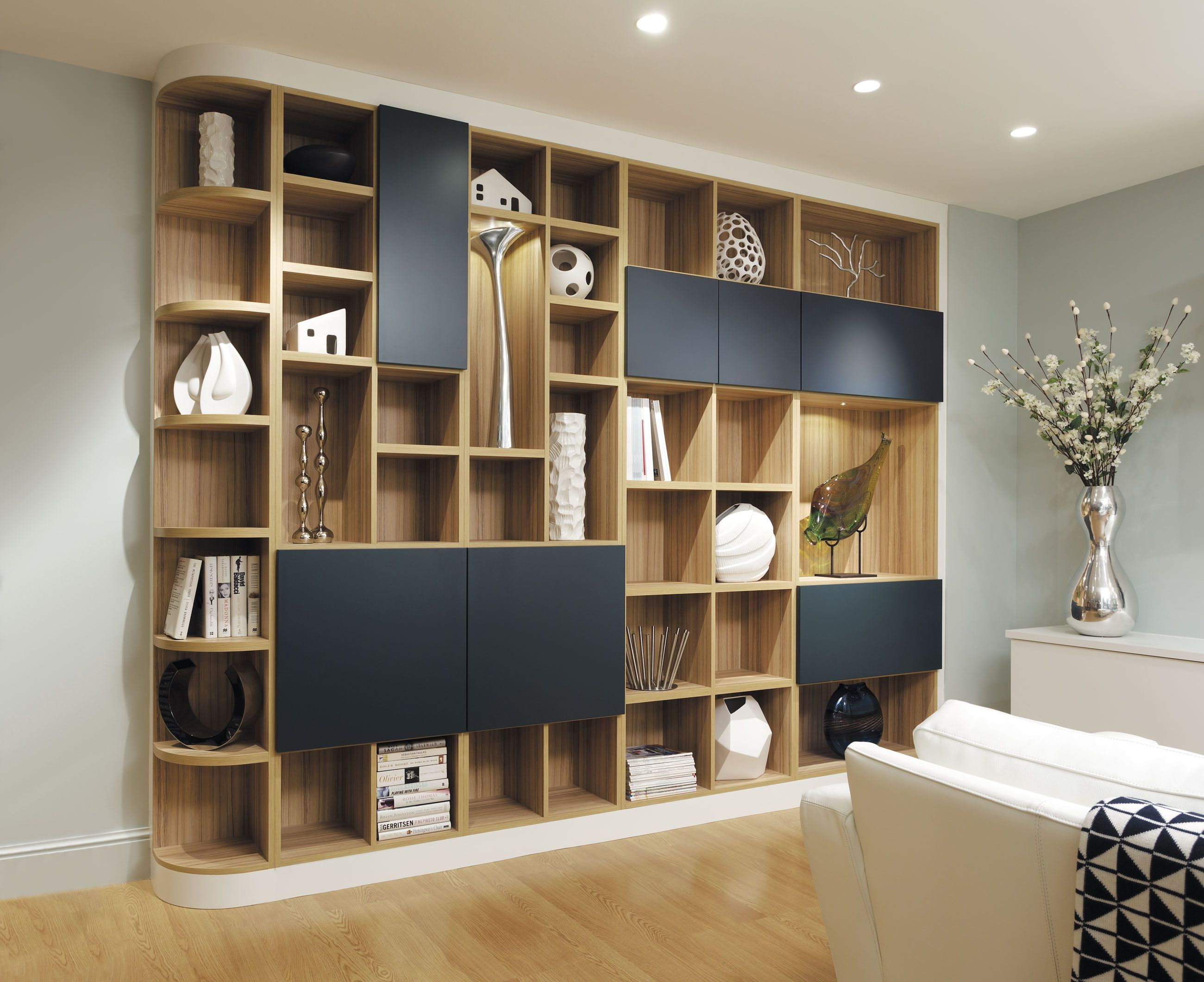 Contemporary Black And Oak Lounge Fitted Furniture