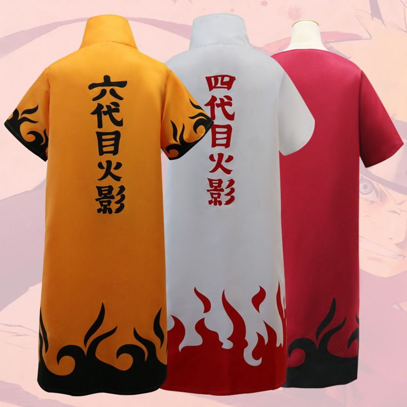 Anime Uzumaki Naruto Fourth Hokage Namikaze Minato Cosplay Costume Cape Cloak