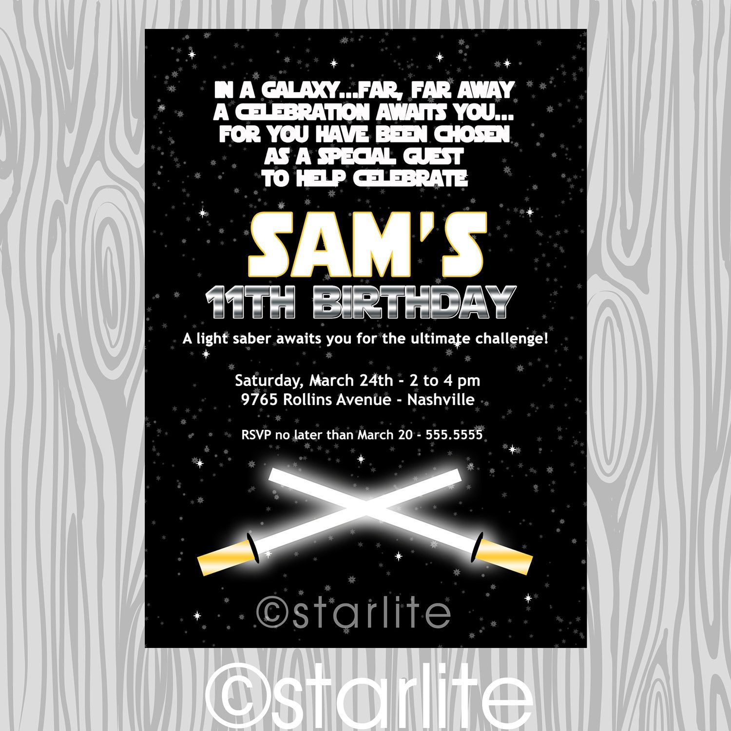 Star Wars inspired - star wars theme birthday party invitation ...