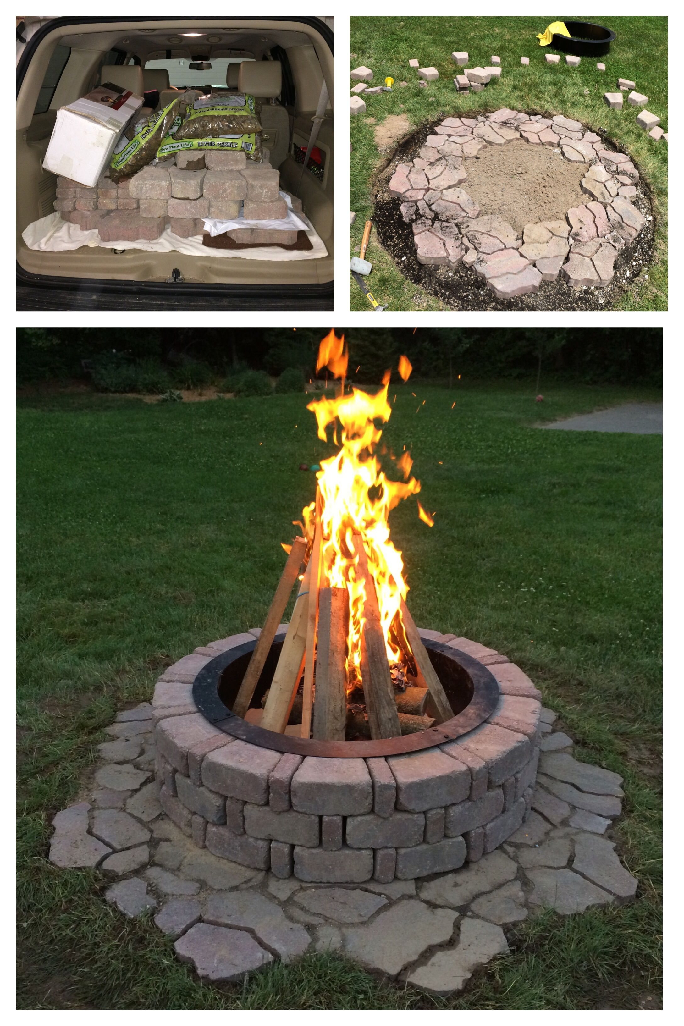 Fire Pit With A Flagstone Base Ring Insert And Other Materials Purchased From Menards Outdoor Fire Pit Outdoor