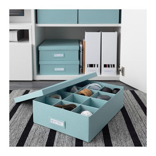 tjena box with compartments light blue ikea home. Black Bedroom Furniture Sets. Home Design Ideas