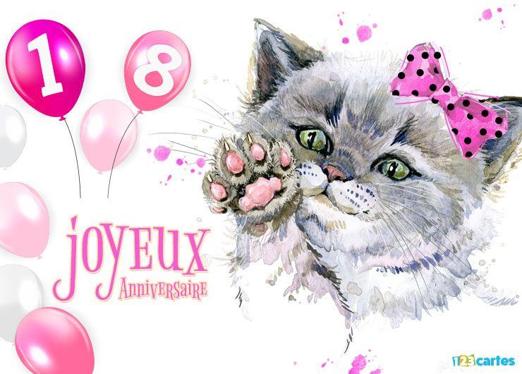 22 Cartes Joyeux anniversaire âge 18 ans (Gratuits)   123 cartes