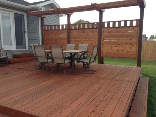 Some People Are Scared Away From The Port Orford Cedar As Decking Because Of Its Light Color This Photo Shows How Much Stain Can Cedar Siding Cedar Deck Cedar