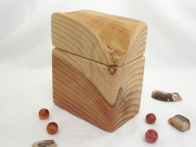 California Redwood Box Small Pet Urn Wood Art Office Desk Organizer Wedding Gift 5th Anniversary Natural Jewelry