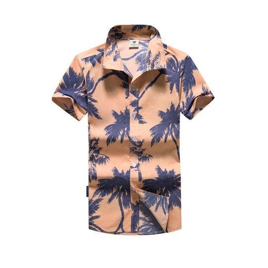 Men/'s Hawaiian Shirt Summer Palm leaf printed Beach Short Sleeve Top Blouse NEW